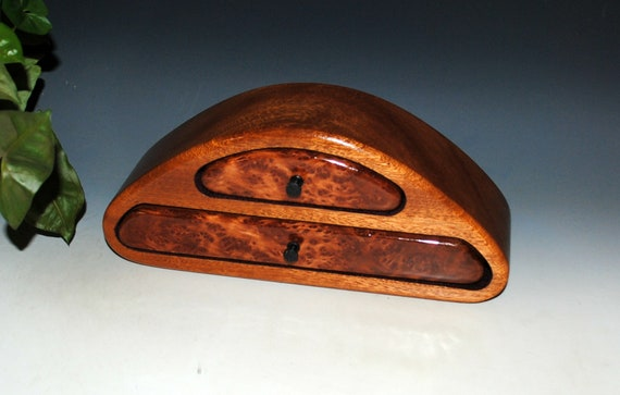 Small Wood Jewelry Box of Redwood Burl on Mahogany - Two Drawer Wooden  Jewelry Box by BurlWood Box