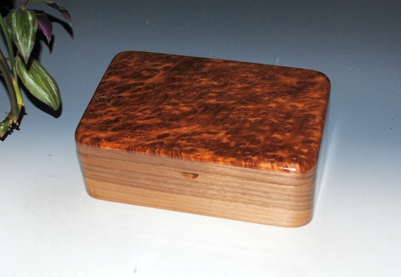 Redwood Burl on Walnut Wood Stash Box, Gift Box, Jewelry Box - Handmade Wooden Boxes by BurlWoodBox - Small Wood Box, Handmade Wood Box