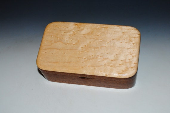 Wooden Treasure Box of Birdseye Maple on Mahogany - Handmade Small Wood Box by BurlWoodBox With Hinged Lid - Handcrafted USA Made Gift