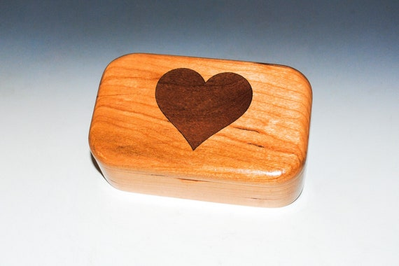 Wooden Heart Box of Cherry & Mahogany - Inlay Heart Trinket Box Handmade by BurlWoodBox - Perfect For a Gift, Storage of Small Jewelry