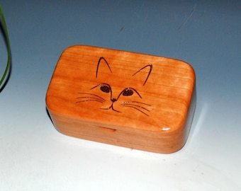 Wooden Trinket Box With Cat Face Engraving on Cherry - Handmade Small Wood Box  - Purrfect Gift !