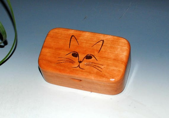 Wood Cat Box - Engraved Cat Face Wooden Box - Trinket Box, Small Box, Vet Gift, Wood Box, Cat Box, Jewelry Box, Gift Box, Pet Box, Wood Box