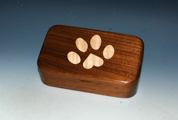 Wood Treasure Box With a Pet Paw Print Inlay of Curly Maple in Walnut - The Perfect Handmade Gift for Any Pet Lover