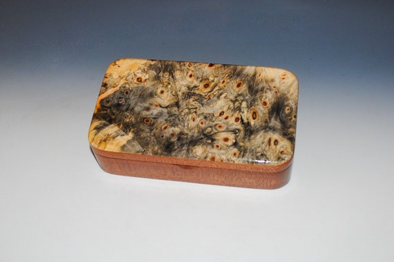 Wooden Box of Buckeye Burl on Mahogany - Handmade Wood Box With Concealed Hinge by BurlWoodBox - Perfect For Special Treasures or Keepsakes