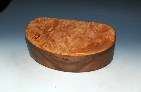 Wooden Box With Lift Out Tray - Kidney Shaped Box of Maple Burl on Walnut
