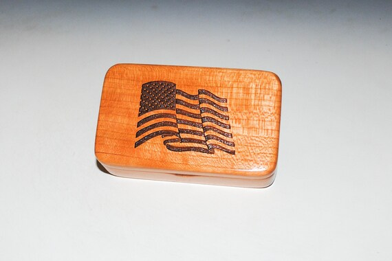 Wood Box With a US Flag on Cherry - Waving Flag Box - Patriotic Gift Box With Lid - Handmade in the USA