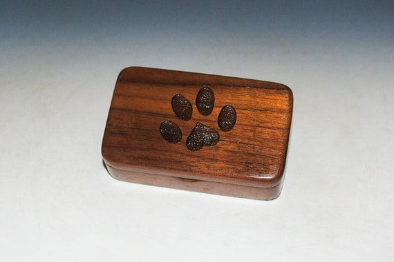 Small Wooden Box With An Engraved Paw Print With a Heart of Walnut - Cat or Dog Mom Dad Gift! - Pet Person Present