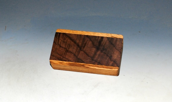 Slide Top Small Wood Box of Zebrawood With Figured Walnut - USA Made by BurlWoodBox With a Food Safe Finish