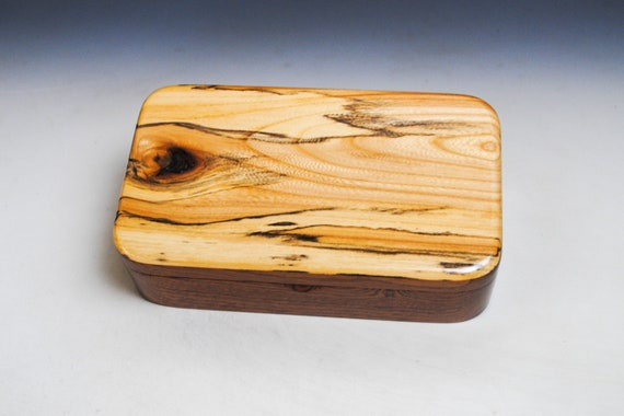 Wooden Box Of Spalted Elm on Mahogany With Hinged Lid - Handmade In America by BurlWoodBox