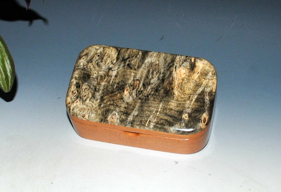 Handmade Wooden Trinket Box -  Wood Box of Buckeye Burl on Cherry - Gift Box, Business Card Box - Jewelry Box - Handmade Small Wooden Box