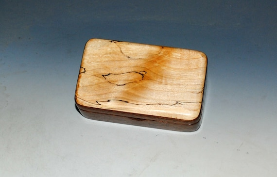 Small Wooden Box of Mahogany With Spalted Maple by BurlWoodBox - Handmade Small Wood Gift Box