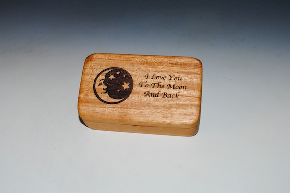 Wooden Box With I Love You To The Moon and Back Engraved on Mahogany- Handmade by BurlWoodBox With A Food Grade Finish