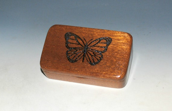 Wooden Box With Monarch Butterfly Laser Engraved on Mahogany - Handmade in the USA by BurlWoodBox - Christmas Gift !