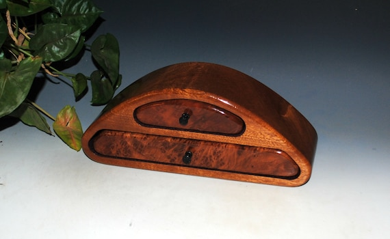 Small Wooden Jewelry Box of Redwood Burl on Mahogany With Two Drawers by BurlWoodBox