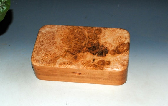 Wooden Box of Maple Burl on Cherry - Handmade Wood Box by BurlWoodBox - Small Stash, Treasure or Jewelry Box