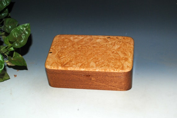 Wood Stash Box of Maple Burl on Mahogany - Handmade Wooden Box With Lid by BurlWoodBox