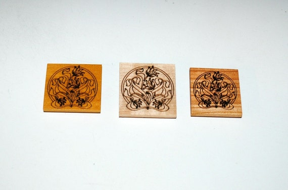 Magnets With Laser Engraved Tulips on 3 Different Woods - Recycled or Upcycled Wood - Small Gift - Free Shipping