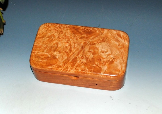 Wooden Treasure Box of Maple Burl on Cherry - Handmade Small Wood Box by BurlWoodBox With Hinged Lid