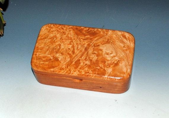 Handmade Wooden Box - Small Wood Box - Maple Burl on Cherry- Jewelry Box, Stash Box, Keepsake Box, Wooden Jewelry Box, Wood Box-Handmade Box