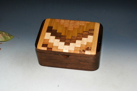 Small Wooden Box With Tray of Walnut With Upcycled Cutting Board - Handmade Wood Box With Lid by BurlWoodBox - A Unique Gift For Anyone !