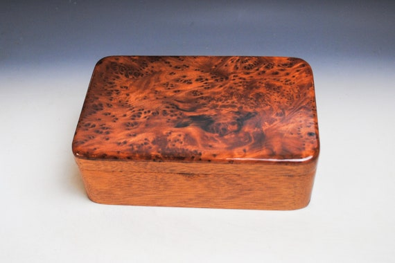 Wooden Stash Box of Redwood Burl on Mahogany - Handmade Wood Box With a Hinged Lid by BurlWoodBox - Perfect For Special Treasures or Jewelry