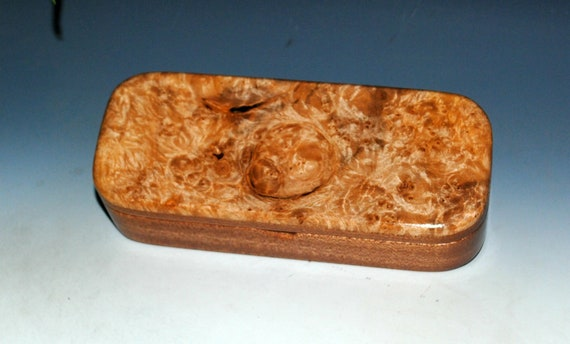 Wooden Pen, Pencil or Desk Box of Mahogany with Maple Burl - Handmade Wood Box With Hinged Lid by BurlWoodBox - Gift Presentaion Box