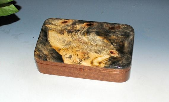 Wooden Box of Buckeye Burl on Mahogany - Handmade Small Stash Box With Hinged Lid by BurlWoodBox - USA Made Gift !
