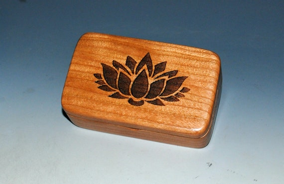Small Wooden Box With a Lotus on Cherry - Handmade Engraved Symbolic Gift !