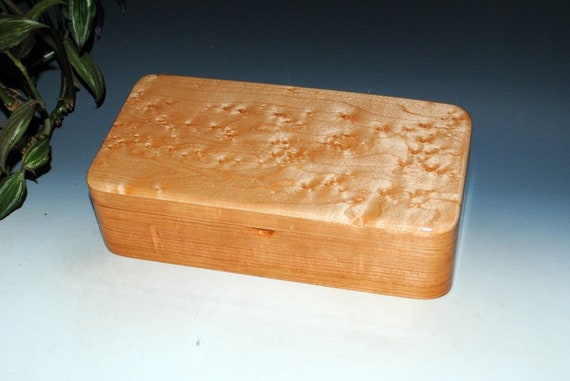 Wooden Box With a Tray With Birdseye Maple on Cherry - Handmade Wood Box with Hinged Lid by BurlWoodBox - Storage For Treasures or Jewelry