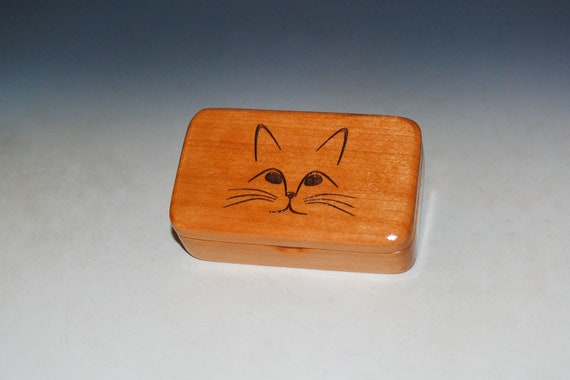 Wooden Box With Cat - Small Cherry Box With Lid by BurlWoodBox - The Purrfect Gift for Your Feline Loving Friend !