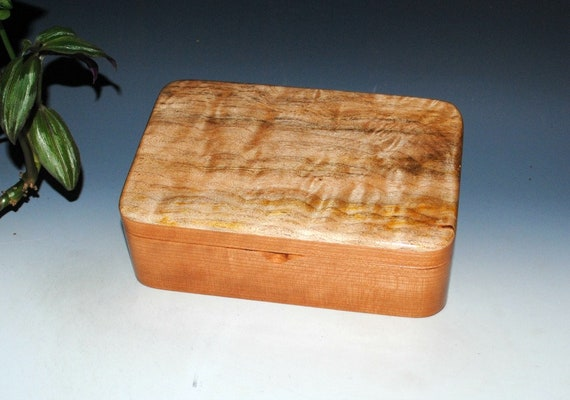 Handmade Wood Stash Box, Keepsake Box, Jewelry Box or Desk Box - Cherry with Spalted Maple -Handmade Box - Wood Gift Box -Treasure Box-Boxes