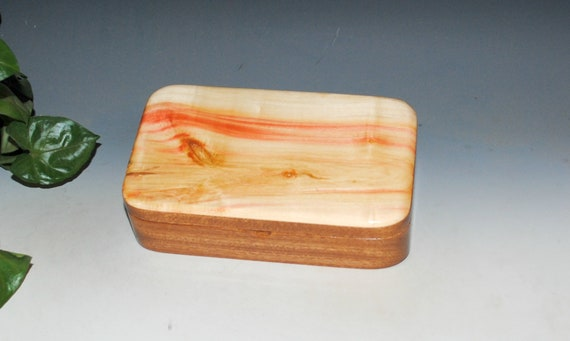 Wooden Box of Spalted Box Elder on Mahogany - Handmade by BurlWoodBox - Small Stash, Treasure or Jewelry Box