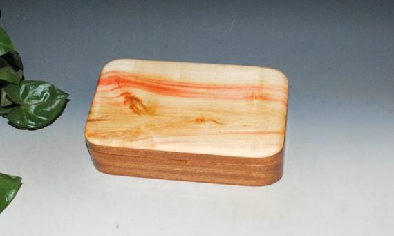 Wooden Box of Spalted Box Elder on Mahogany - Handmade by BurlWoodBox - Small Stash, Treasure or Jewelry Box