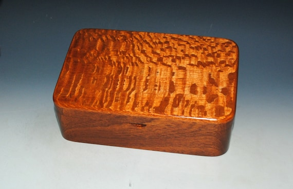 Wooden Stash Box of Lacewood and Mahogany a Hinged Box With Lid by BurlWoodBox - Handmade in The USA - Makes a Great Gift !