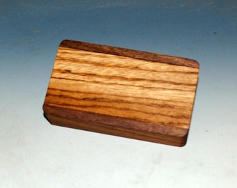 Slide Top Small Wood Box of Walnut With Zebrawood - USA Made by BurlWoodBox With a Food Safe Finish