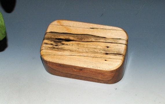 Handmade Spalted Maple on Mahogany Wooden Trinket Box - USA Made Natural Hardwood Box by BurlWoodBox - Unique Gift !  Free Shipping