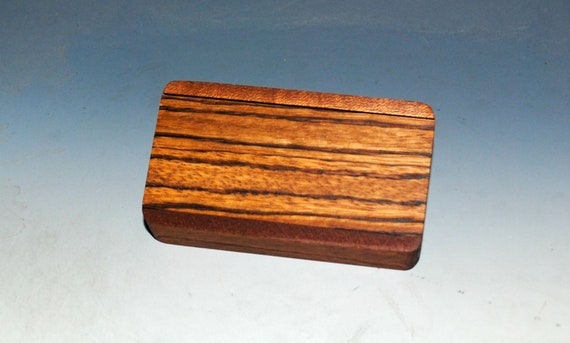 Slide Top Small Wood Box of Mahogany With Zebrawood - USA Made by BurlWoodBox With a Food Safe Finish