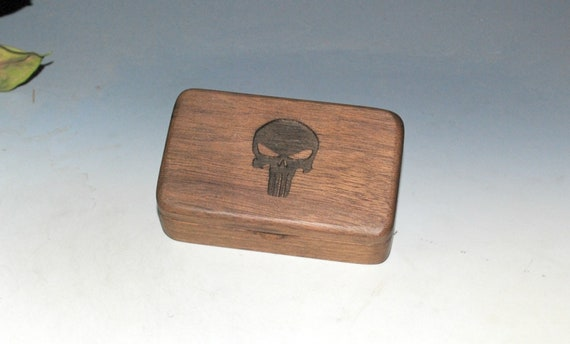 Small Wooden Box With a Punisher Engraving on Walnut -  Handmade Tiny Wood Box With Food Grade Finish