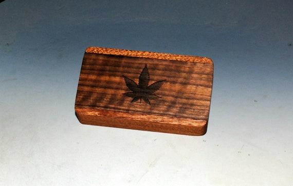 Slide Top Wood Box of Mahogany With Cannabis Leaf Engraved Slide of Walnut - Food Safe Finish