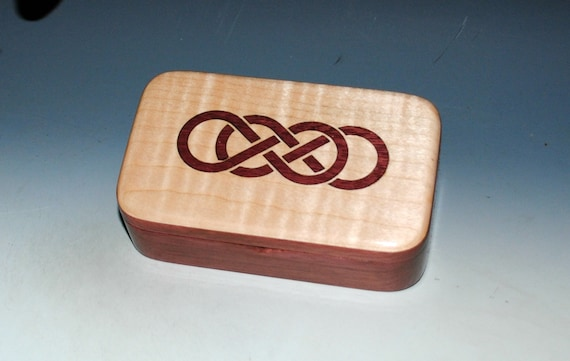 Purple Heart Treasure Box With Curly Maple Double Infinity Inlay  Handmade Box With Hinged Lid by BurlWoodBox - Celtic Knot