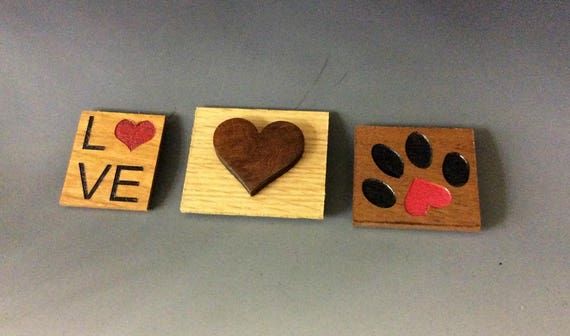 Heart Magnets - Love Magnets - 3 Styles - Small Magnets, Paw Heart, Heart, Love Heart Text, Small Wood Gifts, Upcycled Recycled Wood, Laser