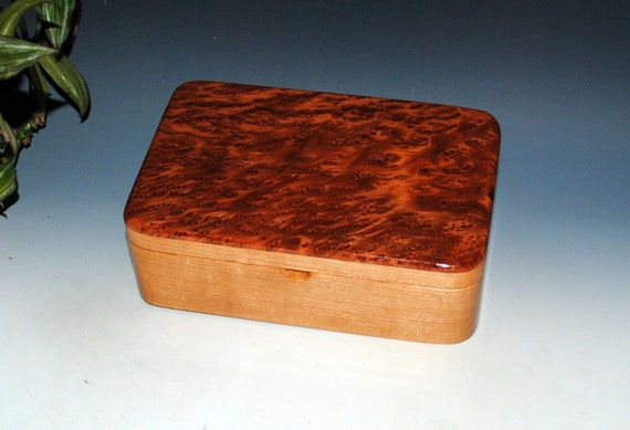 Wood Stash Box, Wood Jewelry Box - Redwood Burl on Cherry-Handmade Box, Wooden Jewelry Box, Wooden Box, Wood Box, Keepsake Box, Treasure Box