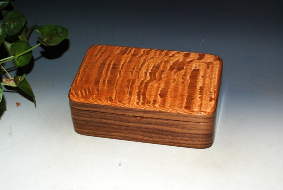 Wooden Stash Box of Lacewood on Walnut - Handmade Wood Box By BurlWoodBox
