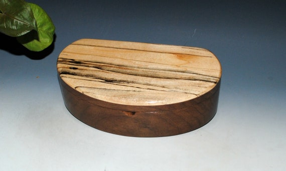 Wooden Box With Lift Out Tray - Kidney Shaped Box of Spalted Maple on Walnut