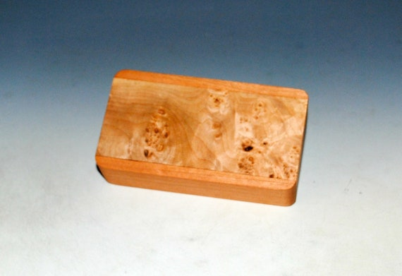 Slide Top Small Wood Box of Cherry With Maple Burl - USA Made by BurlWoodBox With a Food Safe Finish