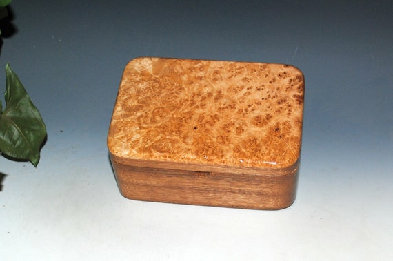 Small Wood Box With Tray of Maple Burl on Mahogany - Handmade Wooden Box by BurlWoodBox