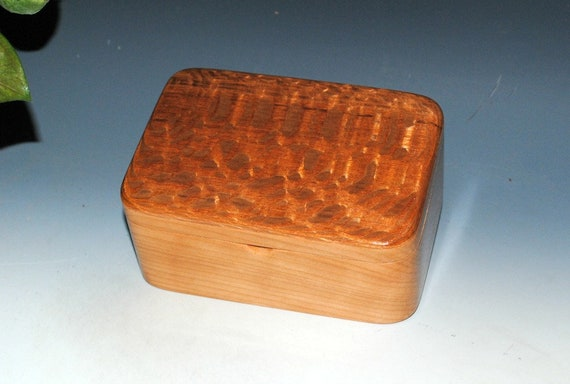 Handmade Wooden Box with Tray and Hinged Lid in Cherry and Lacewood by BurlWoodBox - Nice Gift For Either Him or Her