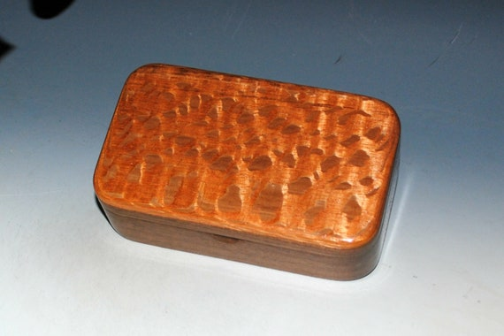 Handmade Wooden Box - Small Wood Treasure Box of Lacewood on Walnut by BurlWoodBox - Great Guy Choice!