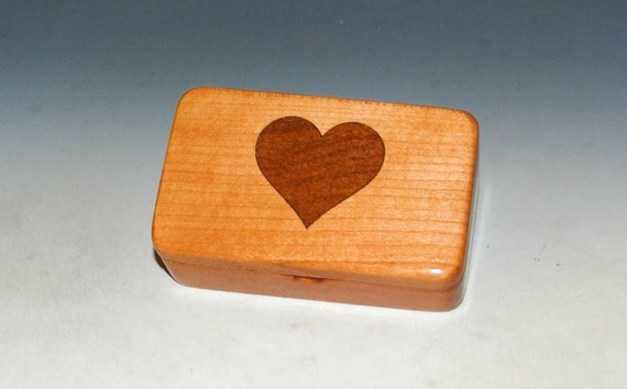 Cherry Box With Mahogany Heart Inlay - Handmade Tiny Wood Box by BurlWoodBox - Perfect For A Small Gift