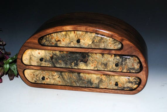 Wood Jewelry Box - Wooden Jewelry Box Walnut and Buckeye Burl Nadia Style by BurlWoodBox - Large Handmade Wood Jewelry Box - Jewelry Storage